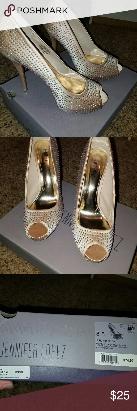 Bling heels supper cute!!! Champagne color Bling peep toe heels new never wore just around the house to see if I could  wear them..I love  them ..but can't wear..great from prom or a night out..or just to be Hella cute with jeans Jessica Simpson Shoes Heels
