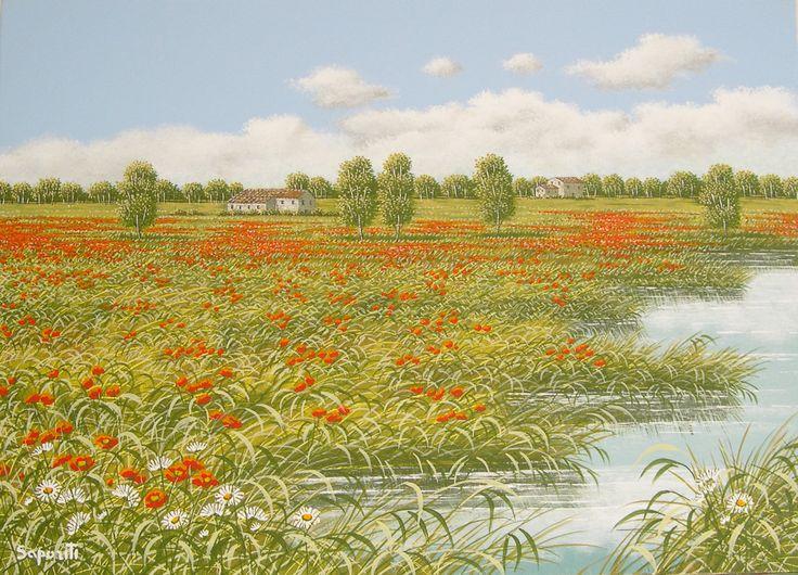 poppies - oil on canvas - olio su tela - pittura - flowers