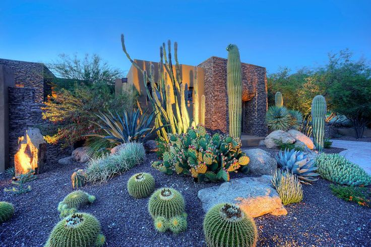 HGTV: Pascale Land Design made the most of a drought-tolerant landscape to create eye-catching cactus gardens for this Southwestern-style home. Beautiful hardscaping complements the landscaped property.