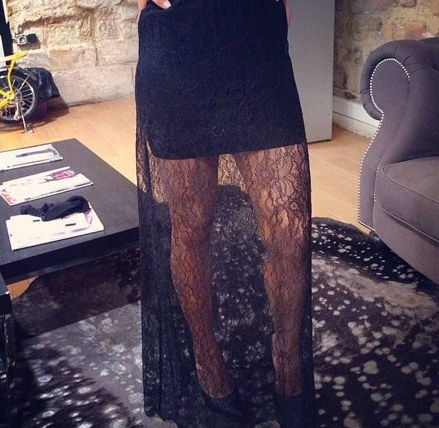 #Allblackeverything long skirt lace black  La jupe Jumbo collection Hiver 14/15  Disponible ici :http://www.belair-paris.fr/jupe-jumbo.html#.VKWM6D29LCQ