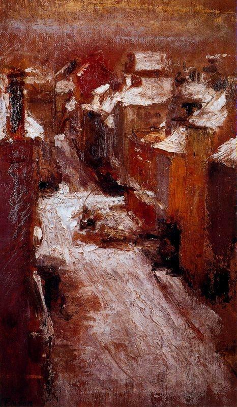 James Ensor, Rue de flandre in the snow
