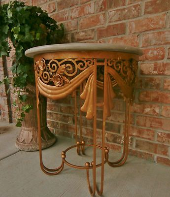 Antique 1930s French Art Deco Louis XIV Accent Gilded Iron Table Marble Top | eBay