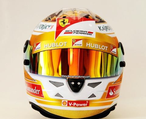Fernando Alonso Monaco GP special helmet featuring all his grand prix victories in the form of jigsaw puzzle.