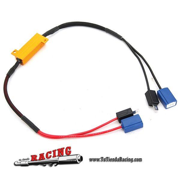 7,52€ - ENVÍO SIEMPRE GRATUITO - Conector Adaptador para Bombilla LED H1/H3 50W-8Ohm LED 12V con Resistencias - TUTIENDARACING