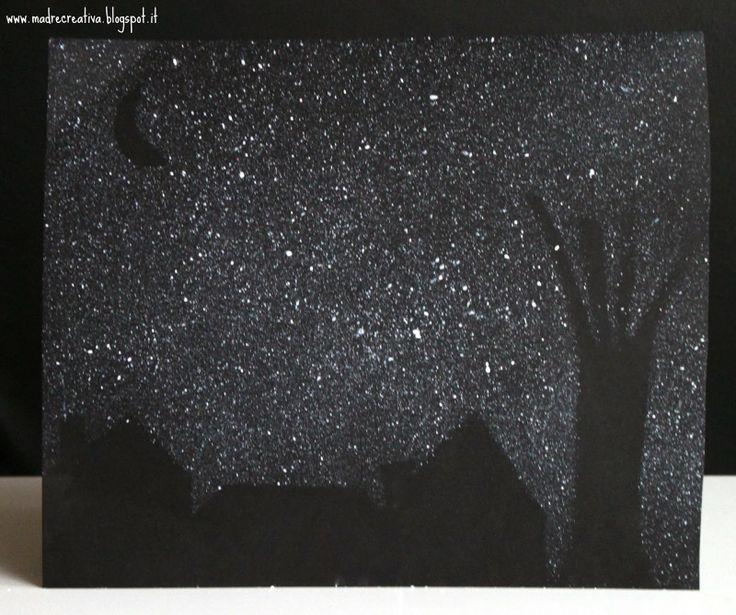 MadreCreativa: Dipingere con lo spazzolino: notte d'inverno