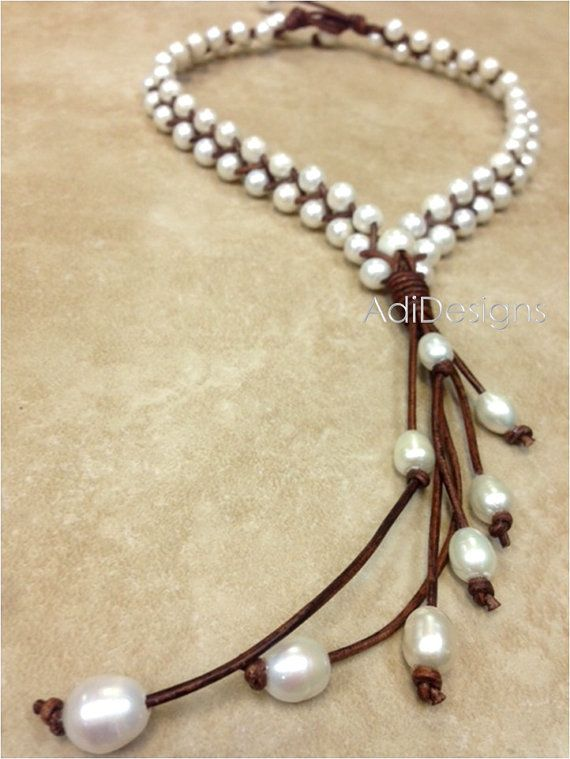 Leather and Freshwater Pearl Necklace MaLee by AdiDesigns on Etsy