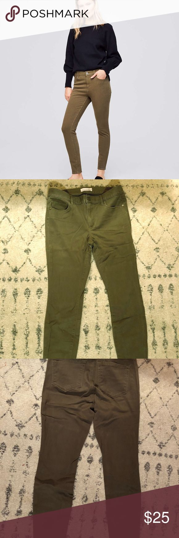 LOFT 4 Way Stretch Denim Leggings Brand: LOFT Color: Olive Drab Style: Jeggings, Denim Leggings, Front & Back Pockets, Ankle-Length Material: 57% Cotton, 40% Rayon, 3% Spandex Condition: Worn Less Than 5 Times LOFT Pants Leggings
