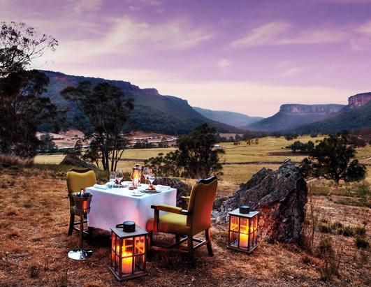 Wolgan Valley Resort and Spa, Australia: Enjoy a classic Australia barbecue in Australia's Blue Mountains and bordered by the Wollemi and the Gardens of Stone national parks. Dining areas are available only to resort guests, ensuring maximum privacy and seclusion. Dinner is included in the nightly rate, from 1,560 per night.