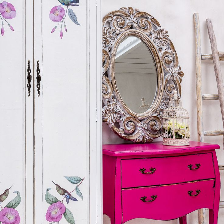 "#гардероб ""Клод"" ( #декупаж - версия ""Райские птицы""), #зеркало «Густавия», #комод ""Мартин"" (розовый), декоративные клетки ""Флер де лиз"". #шкаф, #мебель, #интерьер, #декор, #клетка, #прованс, #furniture, #objectmechty, #interior, #provence"