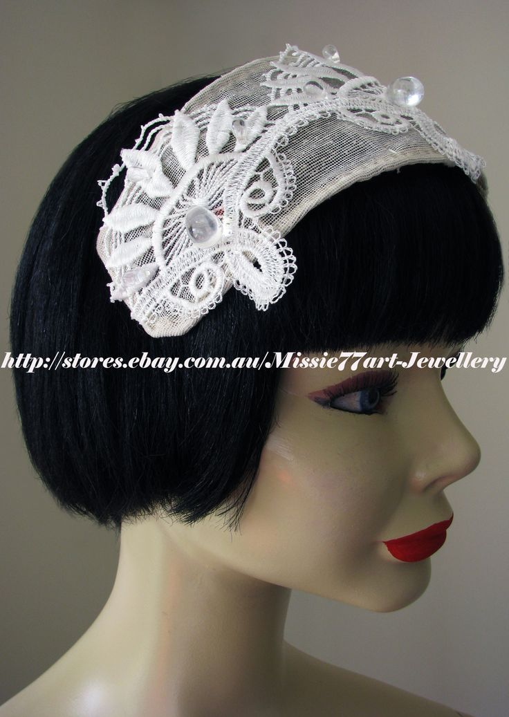 Perfect for brides who love vintage inspired designs - Vintage Inspired Great Gatsby White Beaded Lace Bridal Hat by Missie77art jewellery on etsy