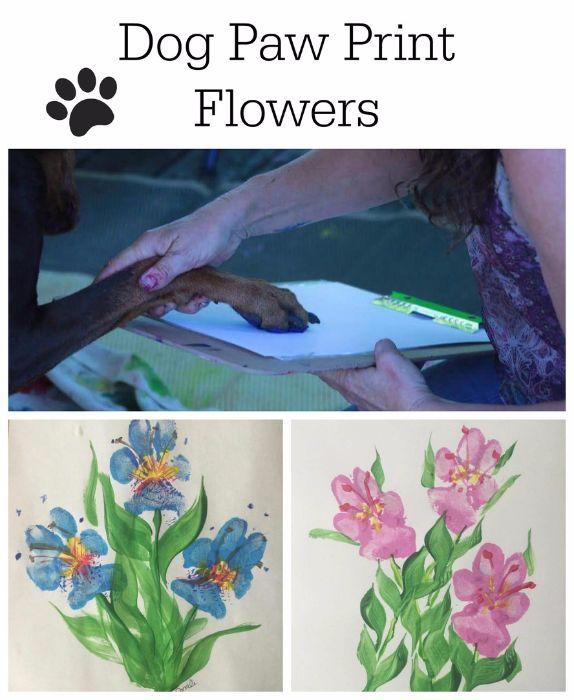 dog paw print art, diy paw print craft, pet gifts, dog and cat paw print flower, pet crafts, pet prints