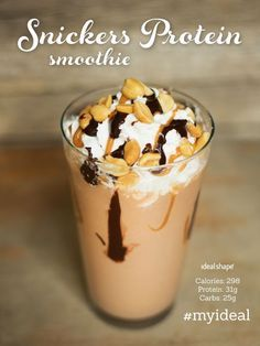 Snickers Protein Smoothie: 1/2 cup fat free cottage cheese, 1/2 cup almond milk, 1 scoop chocolate IdealShake mix, 2 tbs PB2, 1 tsp cocoa powder, 2 tsp sugar free caramel syrup, add ice and blend! #snickers by juliet