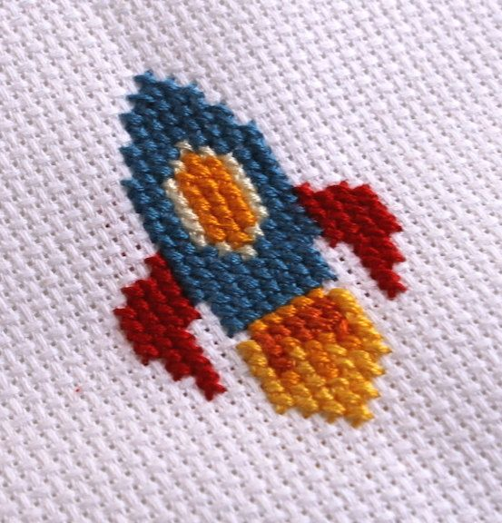 "Colorful Rocket Ship Space Cross Stitch Needlecraft PATTERN DOWNLOAD fit 3"" hoop"
