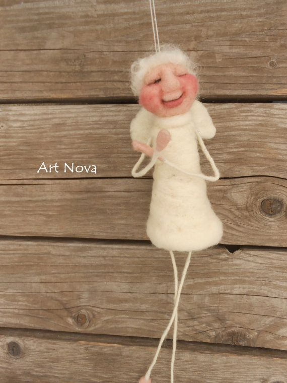 Angel mobile  Needle felted angels mobile  Waldorf by FelThink
