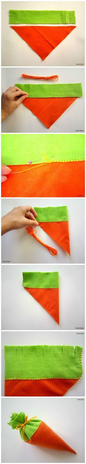 Tutorial de como fazer cenoura em feltro  #artesanato #cenoura #tutorial #diy #facavocemesmo #handmade #Pascoa #dica #ideia #pap #feltro #marrispe