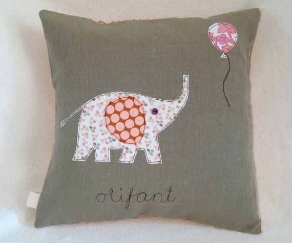 "Elephant  Balloon cushion cover, free motion applique, Amy Butler cotton. Dutch ""Olifant'. 40cm / 16"""