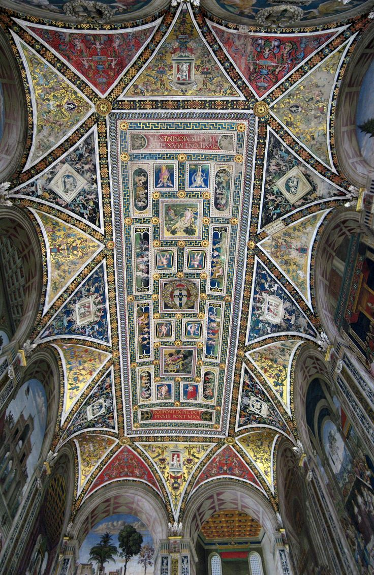 Ceiling Of The Piccolomini Library Siena Cathedral Tuscany Italy Find This Pin And More On History Interiors Chapter 10 Renaissance Design