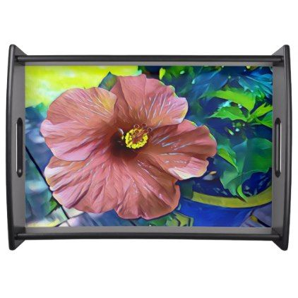 Beautiful Artistic Tropical Flowering Hibiscus Serving Tray - spring gifts style season unique special cyo