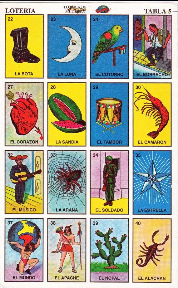 Mexican loteria cards the complete set of 10 tablas Etsy