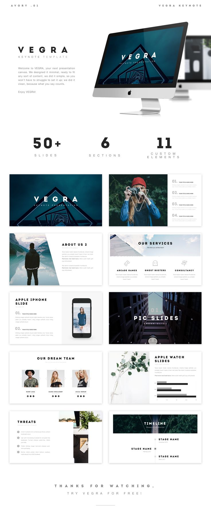 Welcome to VEGRA, your next presentation canvas. We designed it minimal, ready to fit any sort of content, we did it simple, so you won't have to struggle to set it up; we did it clean, so that your content truly shines.