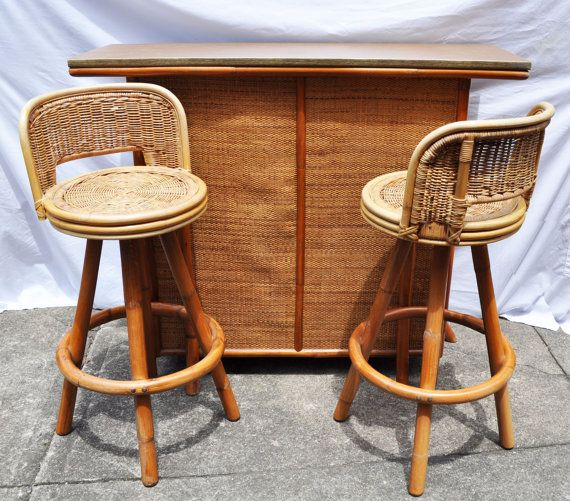 Vintage Tiki Bar And Swivel Stools Bamboo Rattan Wicker
