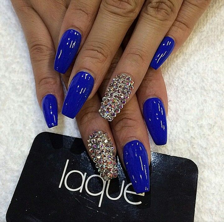 blue coffin nails with bling fing fleeky pinterest