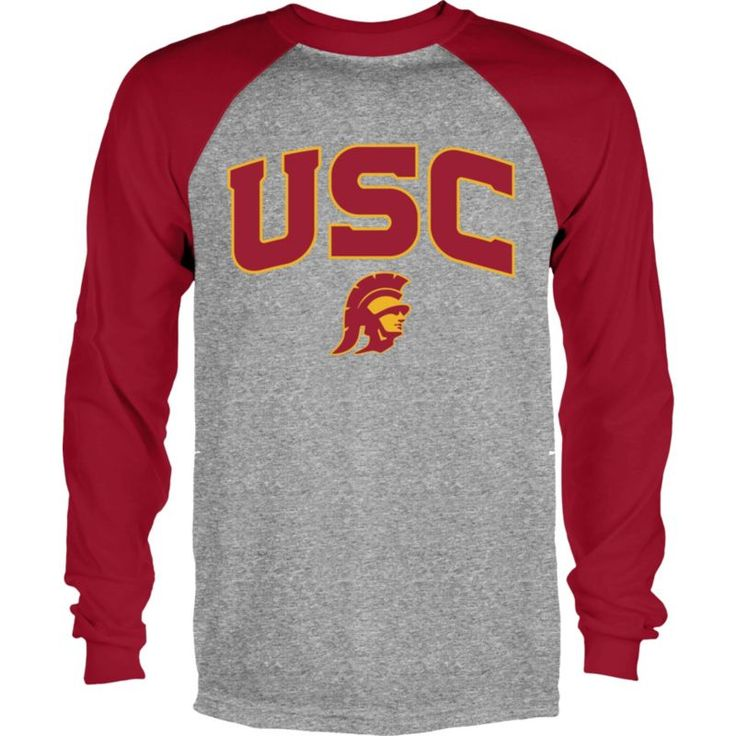 USC Authentic Apparel Men's USC Trojans Grey/Cardinal Byron Long Sleeve Shirt, Size: Large, Team