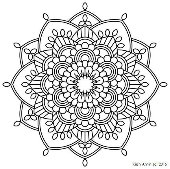 Printable Intricate Mandala Coloring Pages, Instant Download, PDF, Mandala Doodling Page, Adult Coloring Pages, Kids Coloring Pages by KrishTheBrand on Etsy