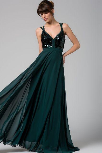 Trendyol Collection Sırt Detaylı Zümrüt Yeşili Elbise.