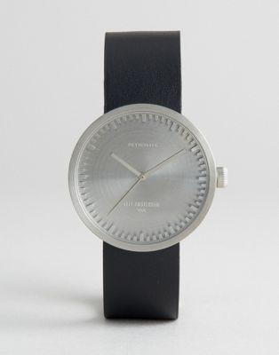 Leff Amsterdam - D-Series - Orologio da 38 mm nero/argento con cinturino in pelle