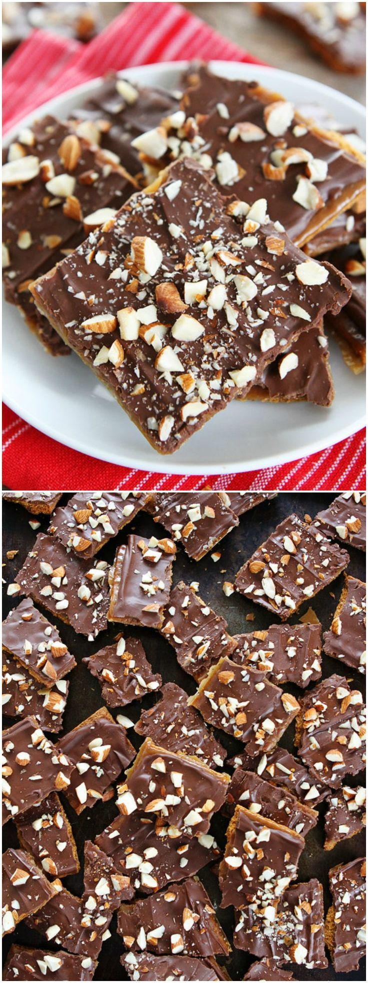 Easy Graham Cracker Toffee Recipe on twopeasandtheirpod.com You only need 5 ingredients to make this delicious toffee! It makes a great holiday gift!