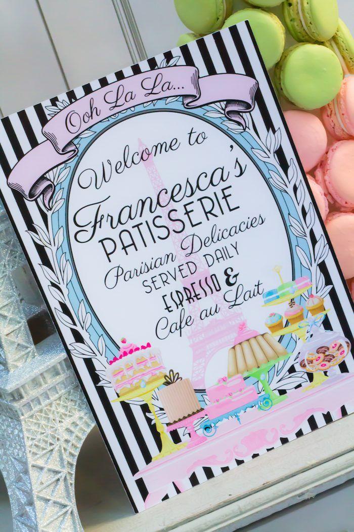 Paris Patisserie themed birthday party via Kara's Party Ideas KarasPartyIdeas.com Cake, decor, printables, invitation, games, and more! #par...