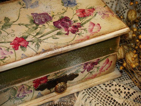 "Jewelry storage box  "" Rural idyll ""/ Decoupage technique box vintage retro looking. Shabby chic. Rustic style Handmade Latvia"