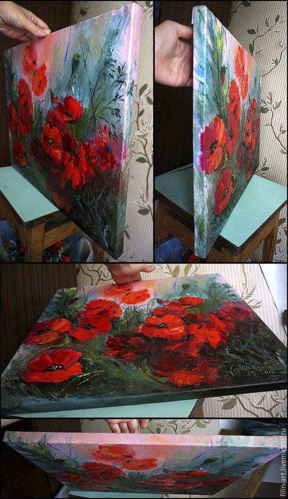 """Купить Цветы Маки Картина маслом на холсте - """"Дикие Маки"""" - ярко-красный, красный"""
