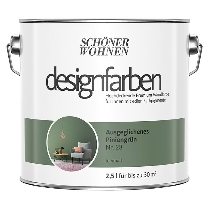 Schoner Wohnen Wandfarbe Designfarbe Ausgeglichenes Piniengrun 2 5 L Feinmatt Schoner Wohnen Wandfarbe Wandfarbe Wandfarbe Grun