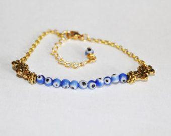 Evil Eye Beaded Hamsa Bracelet Friendship Bracelet by cocolocca