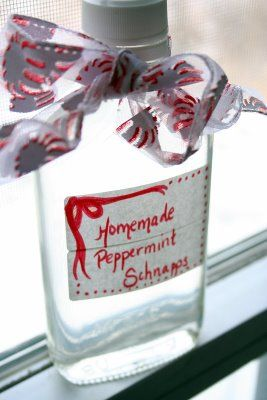 Homemade Peppermint Schnapps - love this idea for Christmas gifts