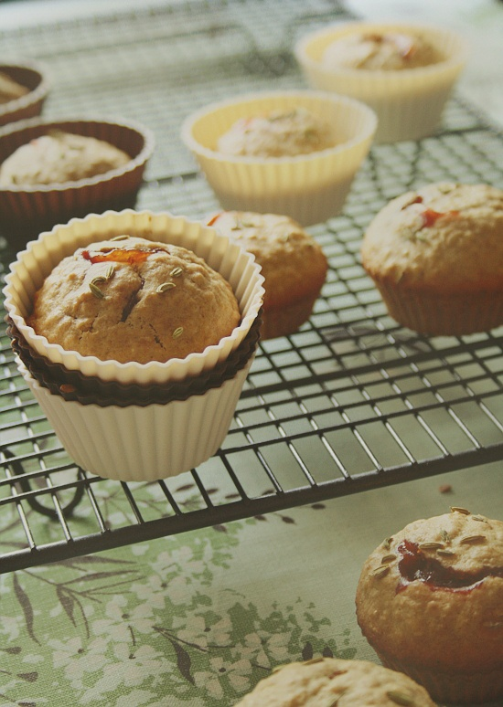 Rosehip Jam and Fennel Seed Oatmeal Muffins