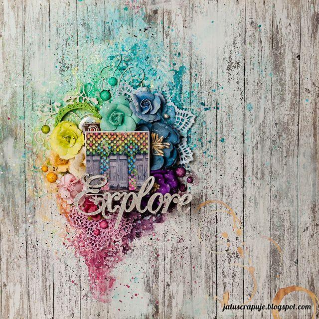 Ja tu scrapuję!: Flower-power; rainbow scrapbooking page, layout featuring lots of Prima Marketing flowers