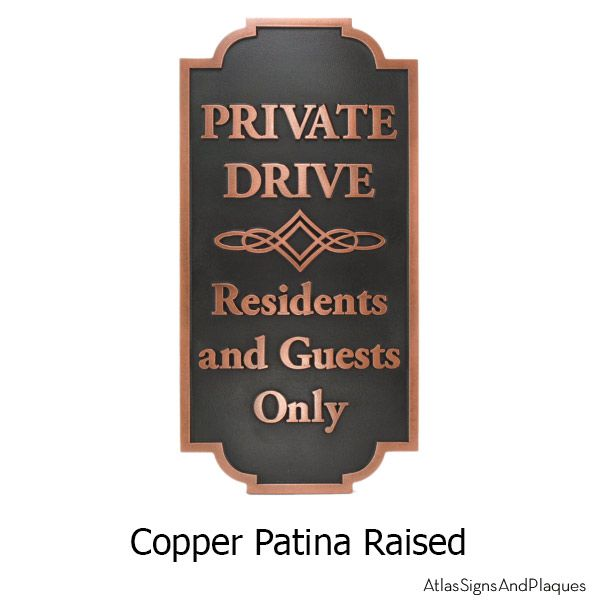 The Home Owner's Association Private Drive Sign is specifically geared to the needs of the most exacting HOA. Privacy signage by Atlas Signs and Plaques.