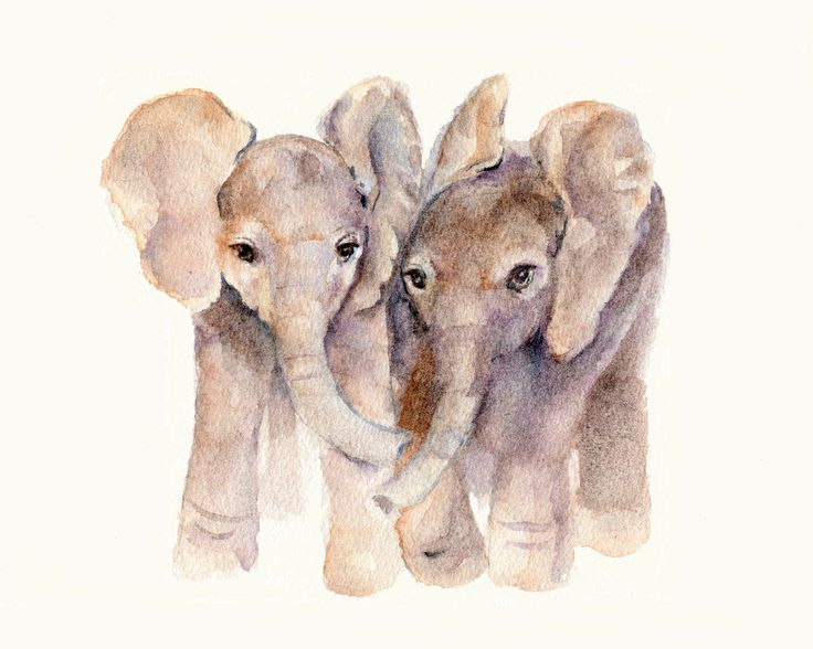 Baby Elephants print 8 X 10 from original watercolor. $12.00, via Etsy.