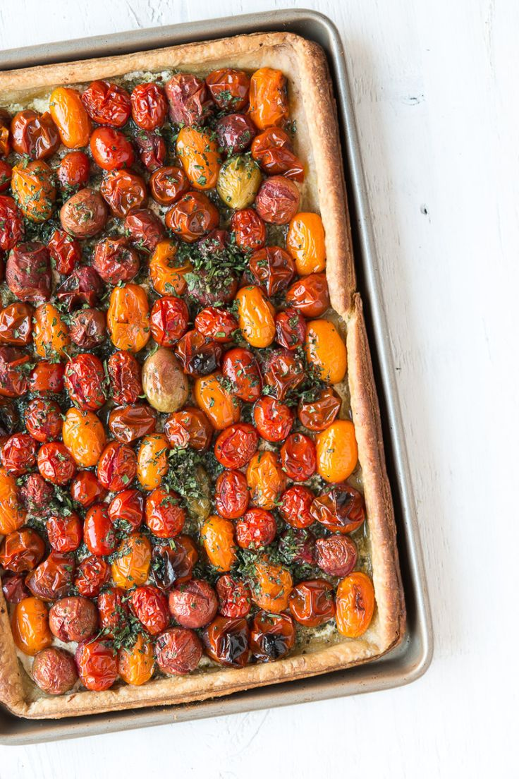 Puff Pastry Tomato Tart with Macadamia Nut Pesto