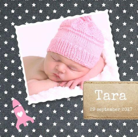 Stoer geboortekaartje voor een meisje met jeans stof en leer sterren patroon raket en eigen - Foto tiener ruimte meisje ...
