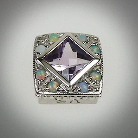 6/6 mm Diagonal Checker Square Amethyst Lavender & Opal