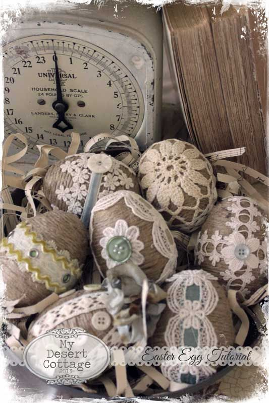 Sharing my love of all things vintage, and aged with the patina of time...~~Used: ~plastic eggs ~jute twine ~glue ~embellishments