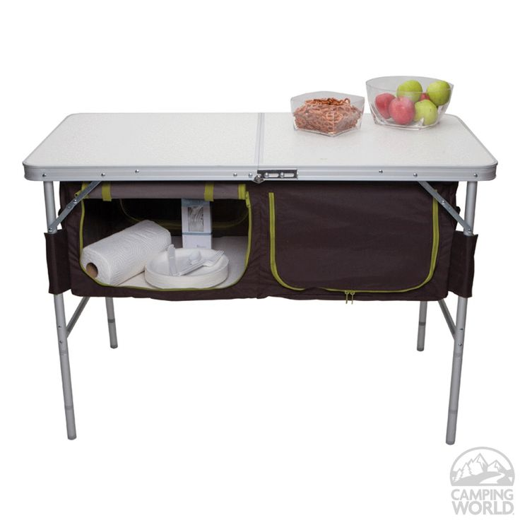 Folding Camp Table with Storage Bins - Westfield Outdoor Inc TA-519 - Picnic Tables - Camping World.... Look sis, @Erica Cerulo Cerulo Cerulo Ledda you and mom could probably make something like this for your table.. I might try to make one for mine. :)
