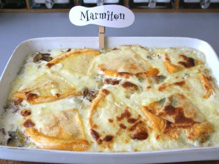 crozet, reblochon, champignon, lardons, oignon, crème fleurette, vin blanc, poivre, Sel