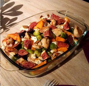 ovenschotel met kip zoete aardappel spruiten vijgen en geitenkaas