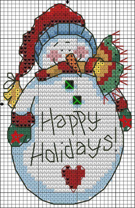 Lindo pequeño muñeco de nieve transversal libre patrón de la puntada: