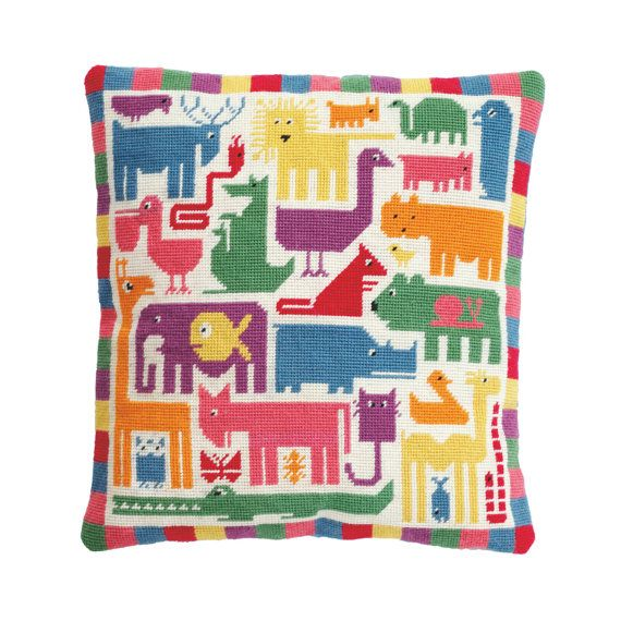 Rainbow Zoo was inspired by a painting by my granddad, which I only discovered a few years ago, but which he did in the 1970s. Ive added a couple of animals of my own, a border of coloured squares, and changed the colours from retro black, blue and orange, into more colourful shades! The finished cushion would look gorgeous in a childs bedroom - see if they can name all the different animals in the zoo! This complete kit contains colour printed 10hpi canvas (printed by Coats Anchor), Anchor…